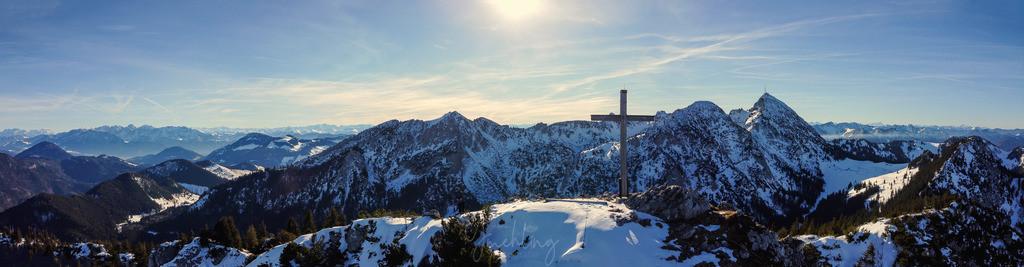 Wendelstein Panorama im Winter | Blick auf den Wendelstein mit Kreuz von Hochsalwand