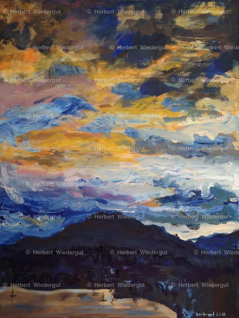 Blick zum Dobratsch | Acrylbild von Dr. Herbert Wiedergut, herb-art, Blick zum Dobratsch