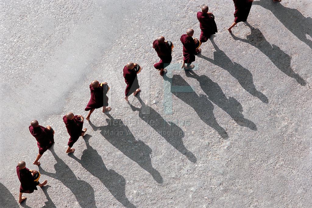 MW1212-0086 | Myanmar: Mönche beim Almosengang am frühen Morgen  in Mandalay