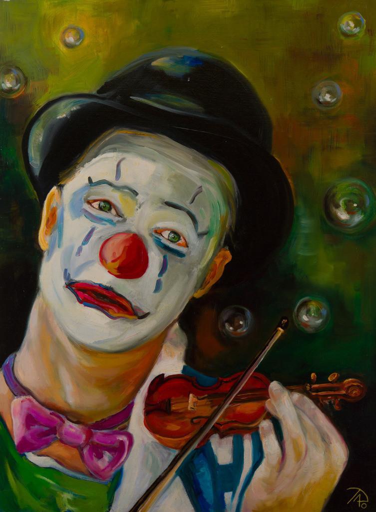Der traurige Clown | Originalformat: 80x60cm  -  Produktionsjahr: 2010