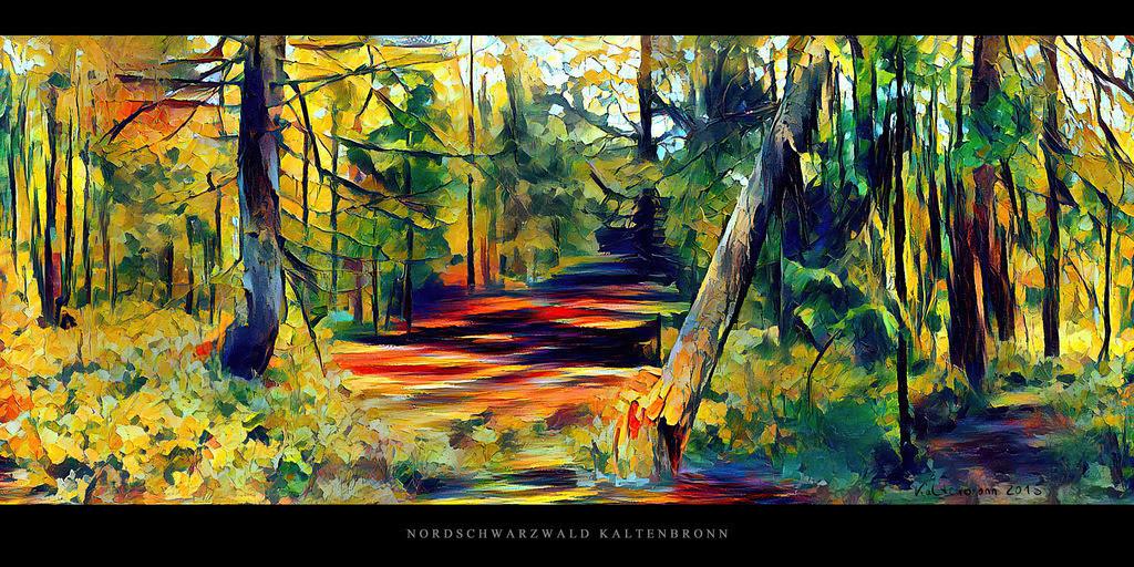 Gemälde Nordschwarzwald Kaltenbronn   Gemälde Karger Wald mit Fichten und Tannen im Hochmoor Kaltenbronn im Schwarzwald
