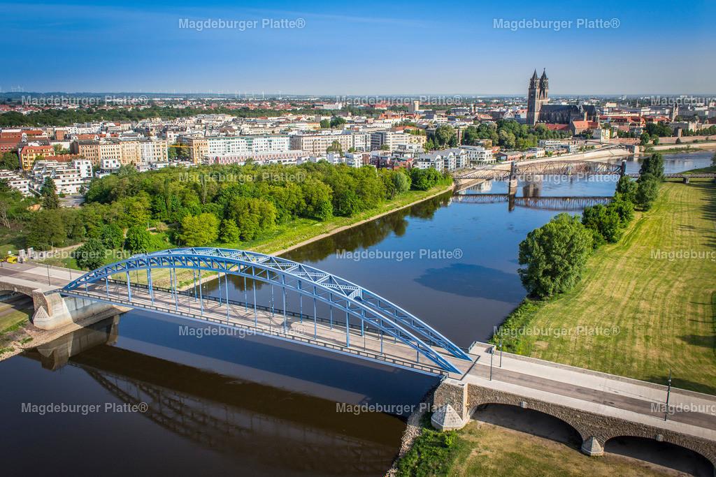 Luftbild Magdeburg Dom Sternbrücke Elbe-1980