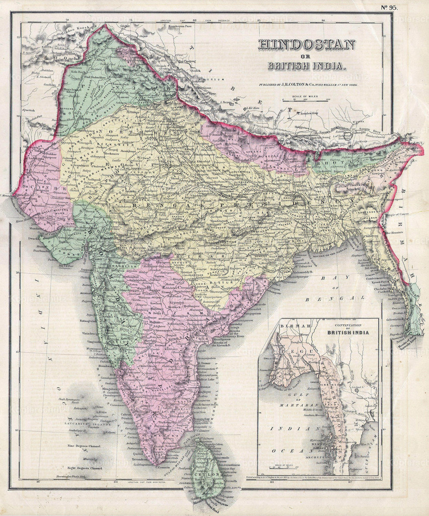 1855_Colton_Map_of_India_or_Hindostan_