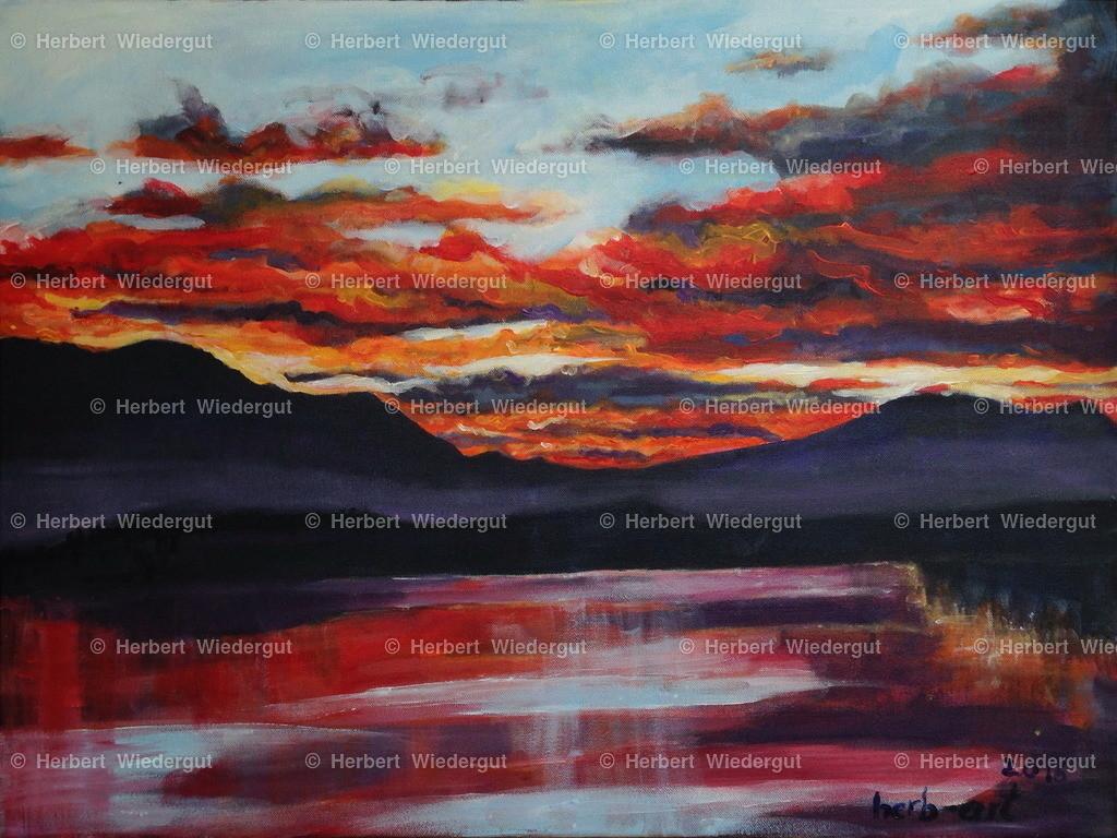 sunset am Faakersee 2016 | Acrylbild von Dr. Herbert Wiedergut, herb-art, Abendstimmung am Faaker See