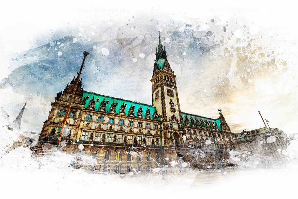 10210308 - Hamburger Rathaus | Entdecken Sie unsere Hamburgmotive im Aquarell-Look. Die Kombination von Fotografie und hochwertiger digitaler Nachbearbeitung lässt dieses Bild des Hamburger Rathauses wie ein Aquarell-Gemälde erscheinen.