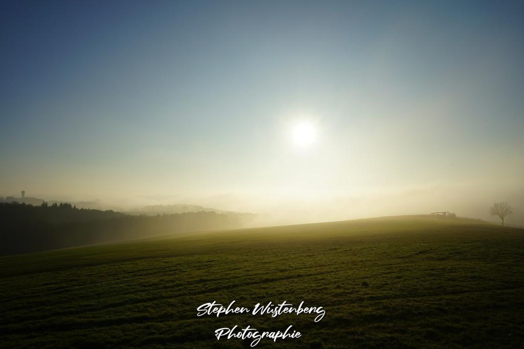 Wintersonne über nebliger Wiese | Aufgenommen am Heuberg bei Wartenberg-Rohrbach
