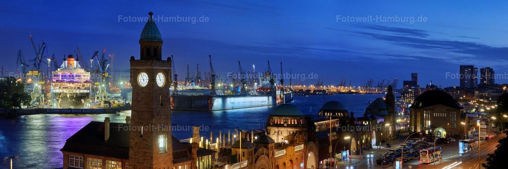10170602 - Landungsbrücken Panorama mit Queen Mary 2
