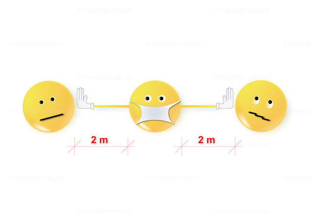 Social_distancing | Pictogramm in Form von Smileys für Abstand von zwei Metern voneinander.