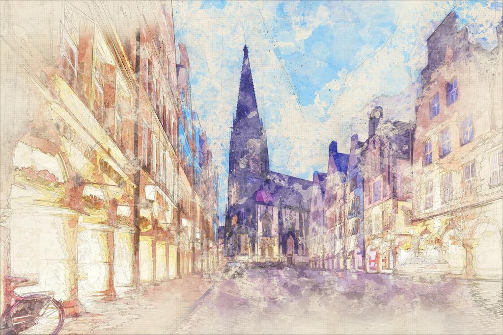 Münster - Prinzipalmarkt und Lambertikirche bei Nacht | Münster - Prinzipalmarkt und Lambertikirche bei Nacht