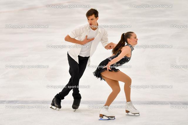 AUT, Eiskunstlaufen, Junior Grand Prix of Figure Skating 2021/2022   07.10.2021, Eishalle Linz, AUT, Eiskunstlaufen, Junior Grand Prix of Figure Skating 2021/2022, im Bild Anita Straub und Andreas Straub (AUT) - Junior Ice Dance Rhythm Dance