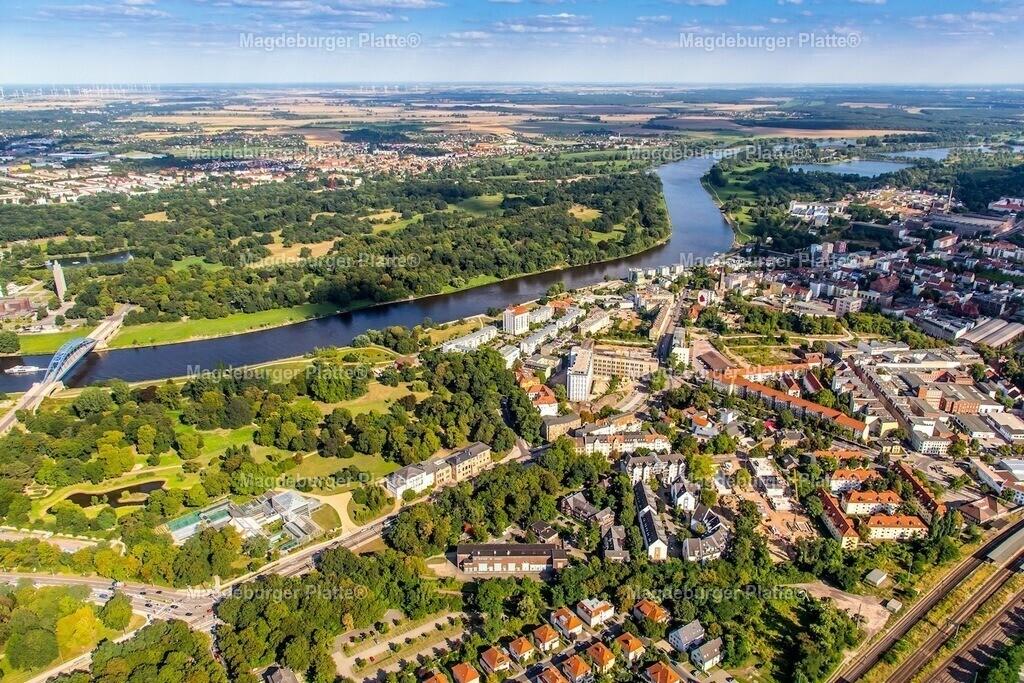 Luftbild Magdeburg Buckau Gewächshäuser Elbe-5207
