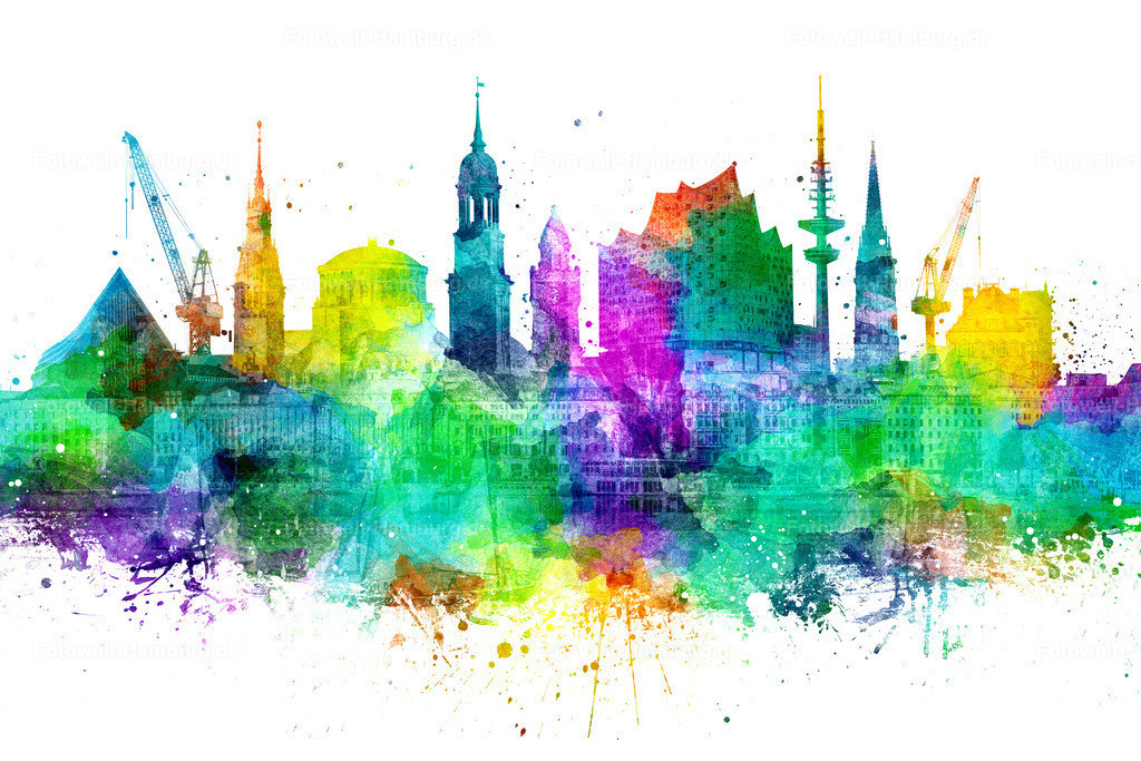 10200808 - Bunte Hamburg Skyline | Moderne Hamburg Skyline - ein bunter Mix aus Fotografien und grafischen Bearbeitungen.