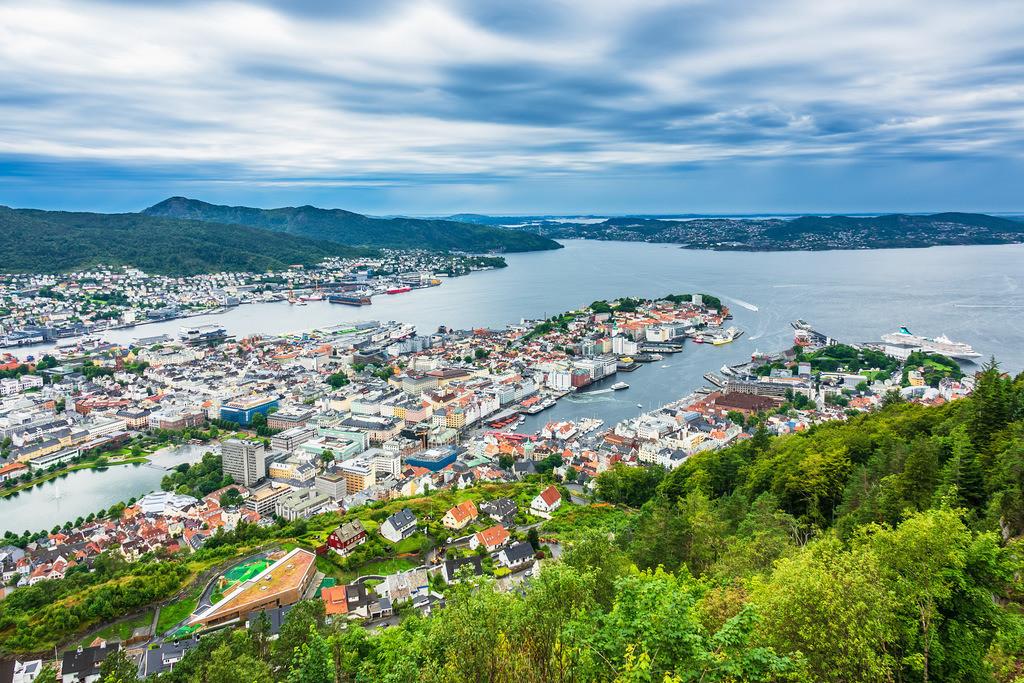 Blick auf die Stadt Bergen in Norwegen | Blick auf die Stadt Bergen in Norwegen.