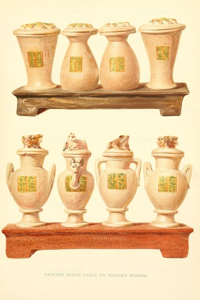 Carter_ Howard (1874-1939) - Tomb of Iouiya _ Touiyou 1907 - Painted stone vases on wooden stands