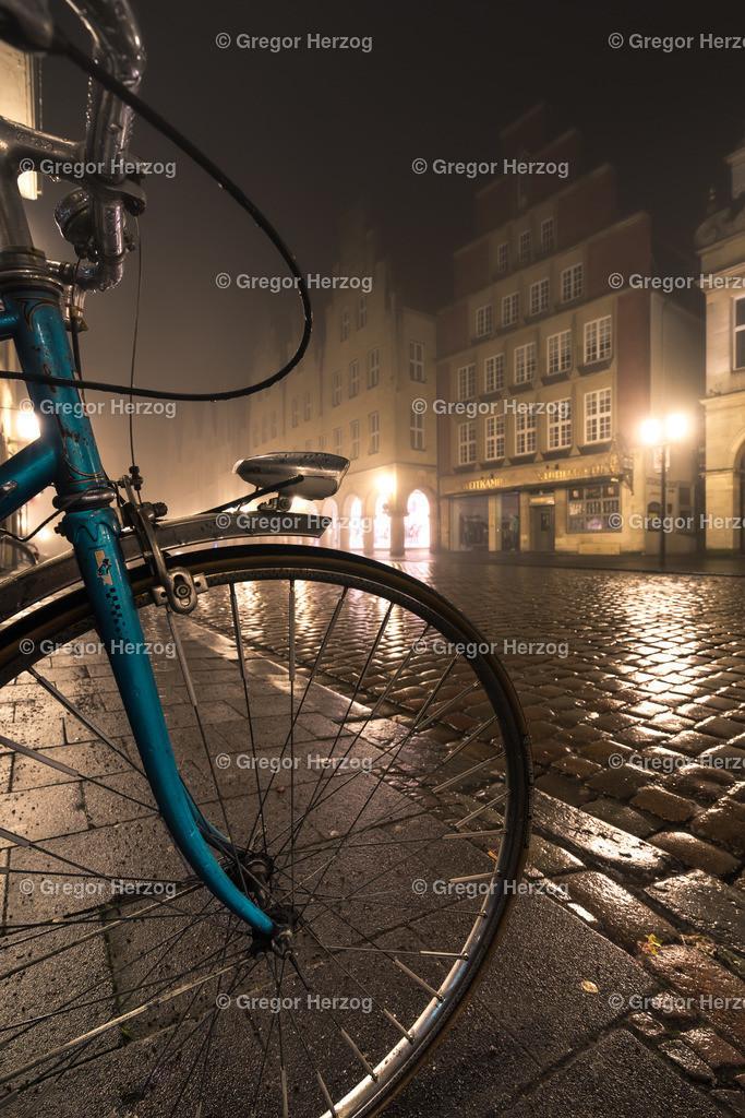 Münsters Wahrzeichen | Fahrrad im Nebel