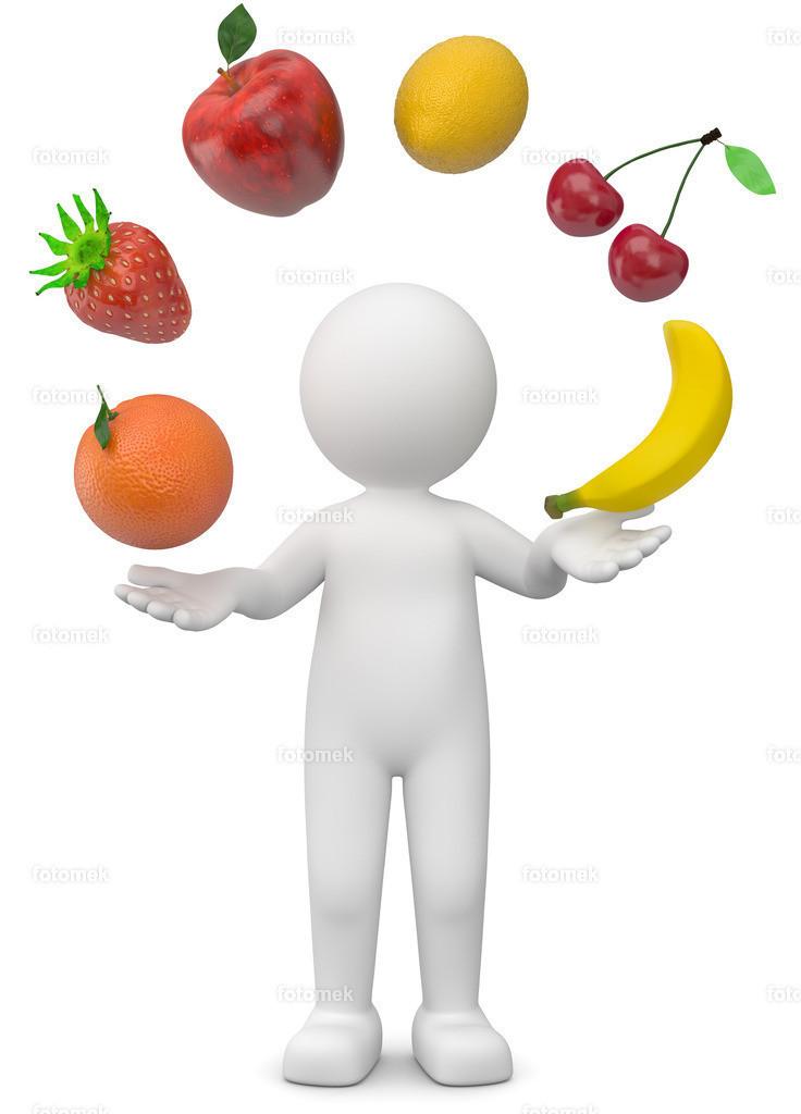 3d Männchen mit Früchte | 3d Männchen jongliert mit einem Fruchtcocktail aus Erdbeere, Kirschen, Orange, Banane, Zitrone  und Apfel Obstsalat hat viele Vitamine und hält gesund.
