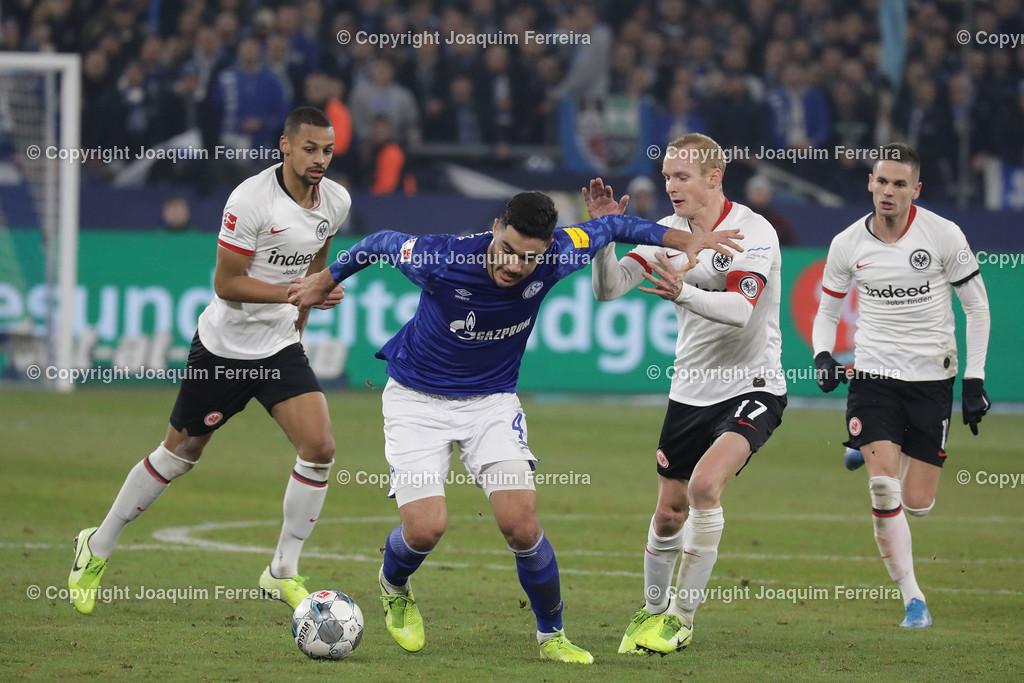 191215_schvssge_0071 | 15.12.2019 Fussball 1.Bundesliga, FC Schalke 04 - Eintracht Frankfurt  emspor  v.l.,  Djibril Sow (Eintracht Frankfurt), Ozan Kabak (FC Schalke 04), Mijat Gacinovic (Eintracht Frankfurt), Mijat Gacinovic (Eintracht Frankfurt),Zweikampf, Action, Aktion, Battles for the Ball  (DFL/DFB REGULATIONS PROHIBIT ANY USE OF PHOTOGRAPHS as IMAGE SEQUENCES and/or QUASI-VIDEO)