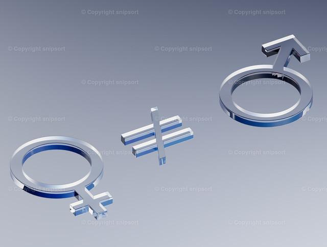 Konzept Ungleichheit der Geschlechter | Weiblichkeit und Männlichkeit nicht gleichberechtigt (3D Illustration)