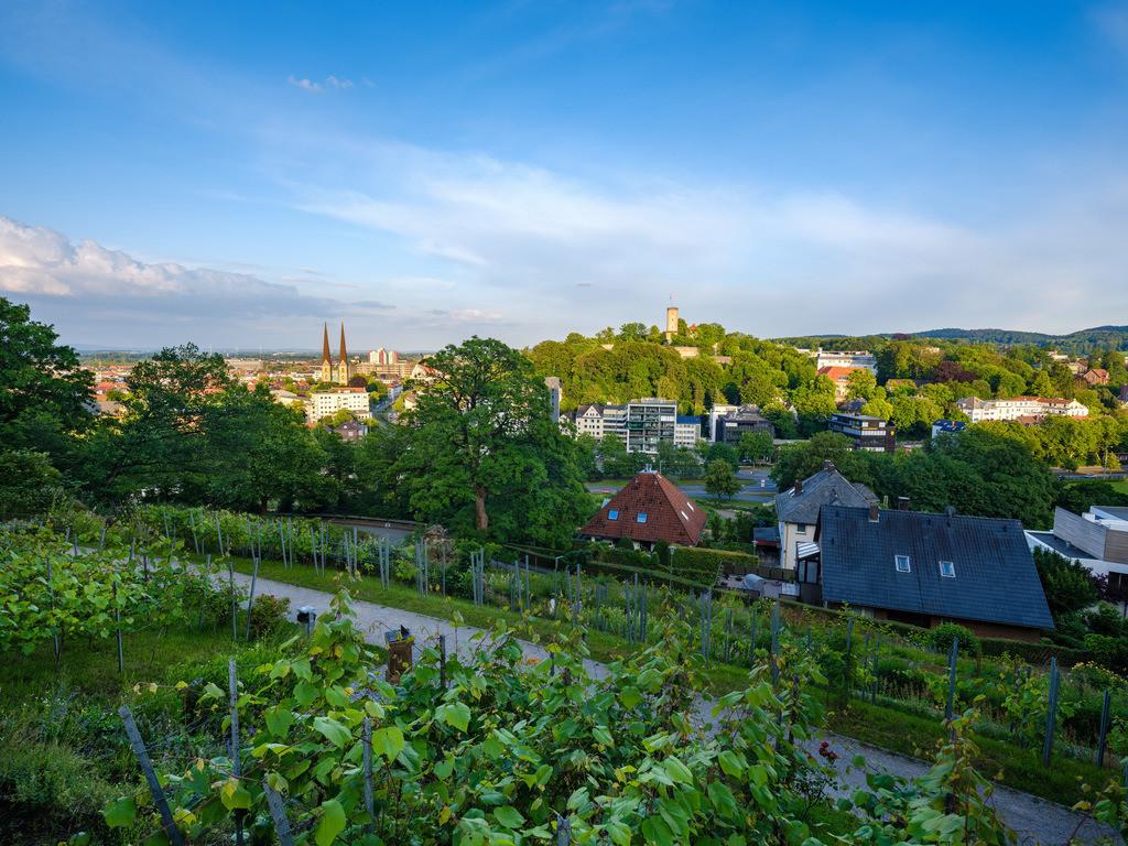 Johannisberg - Blick auf die Sparrenburg | Blick auf die Sparrenburg und die Bielefelder Innenstadt vom Johannisberg aus.
