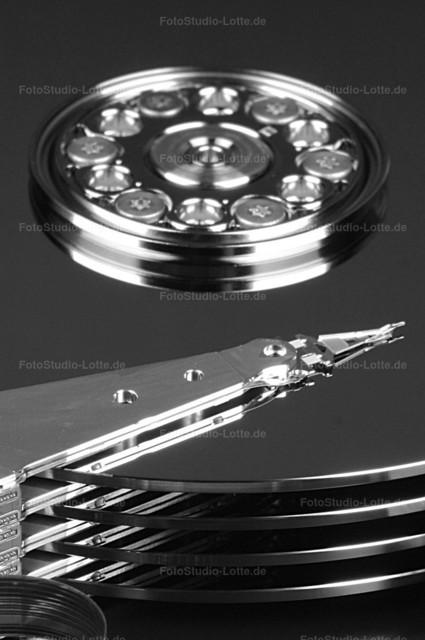 Festplatte | Das Innenleben einer noch mechanischen Festplatte