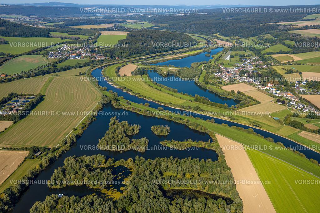 Beverungen200911632Osterfeldsee   Luftbild, Fluss Weser, Osterfeldsee in Nordrhein-Westfalen, Meinbrexen See in Niedersachsen, Meinbrexen, Beverungen, Ostwestfalen-Lippe, Nordrhein-Westfalen, Deutschland