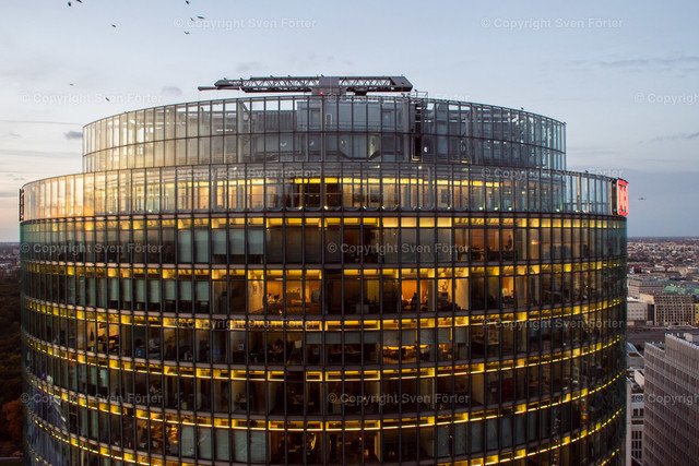 At night in Berlin | Berlin, Germany - October 12 2017: Close up of the DB Building