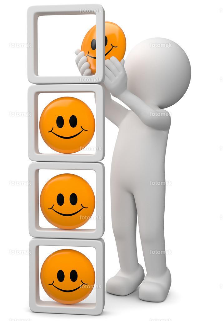 weisses 3d Männchen staplelt Smilueys -Zufriedenheit | 3d Männchen stapelt Smileys und bewertet die Zufriedenheit der Kunden
