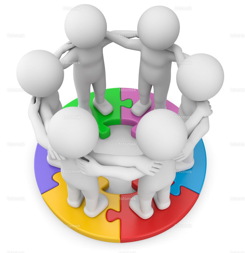 weisse 3d Männchen auf bunten Puzzle- Teamgeist   3d Männchen stehen auf einem fertigen Puzzle im Team und machen Teamwork