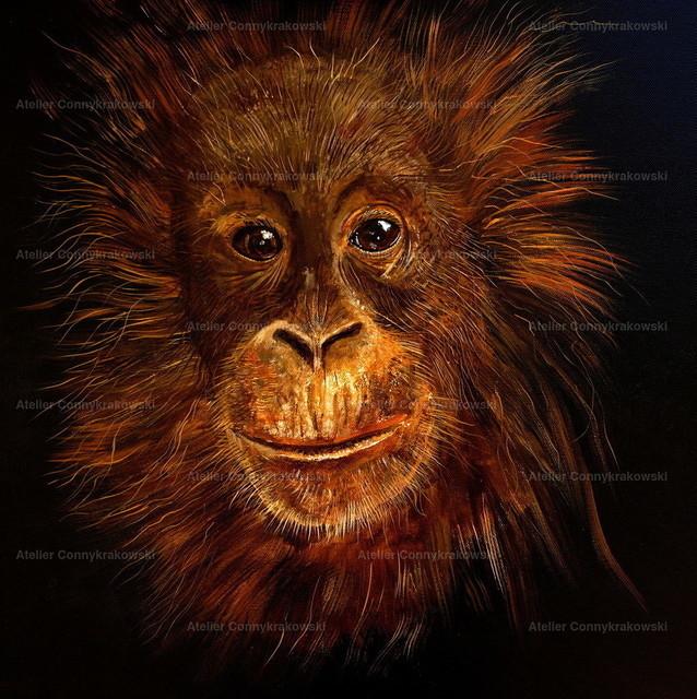 Affenkind-1 | Phantastischer Realismus aus dem Atelier Conny Krakowski. Verkäuflich als Poster, Leinwanddruck und vieles mehr.