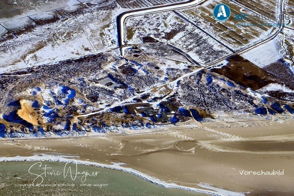 Winter Luftbilder, Nordsee, Nordfriesland, Amrum, Kniepsand, Ban Horn     Winter Luftbilder, Nordsee, Nordfriesland, Amrum, Kniepsand, Ban Horn
