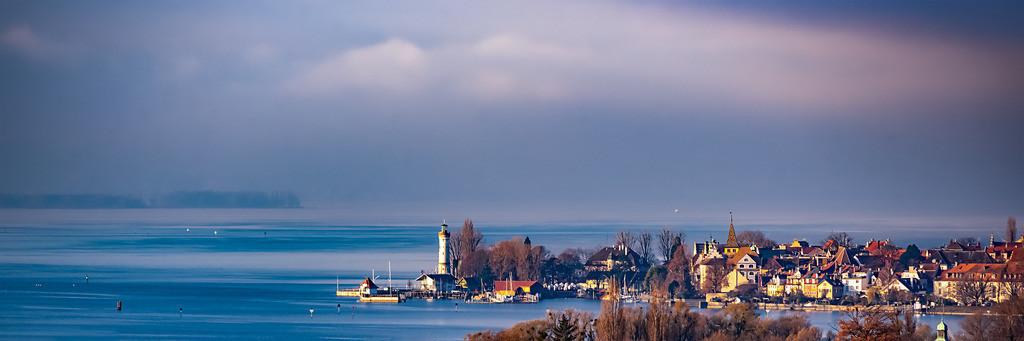 Blick auf die Lindauer Insel im Winter