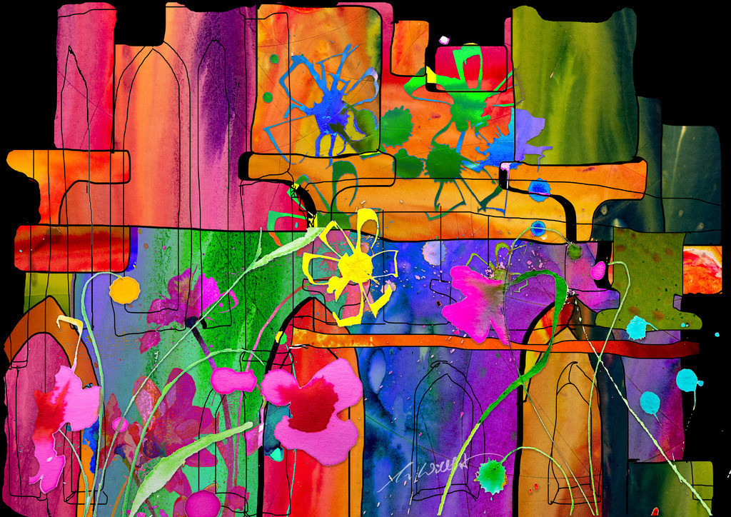 Klosterblumen mit Haus _quer | Weil sie mich begeistern, die freien Blumen im Sommer. Motive der 360°  Lichtkunstausstellung im Klosterhof Blaubeuren