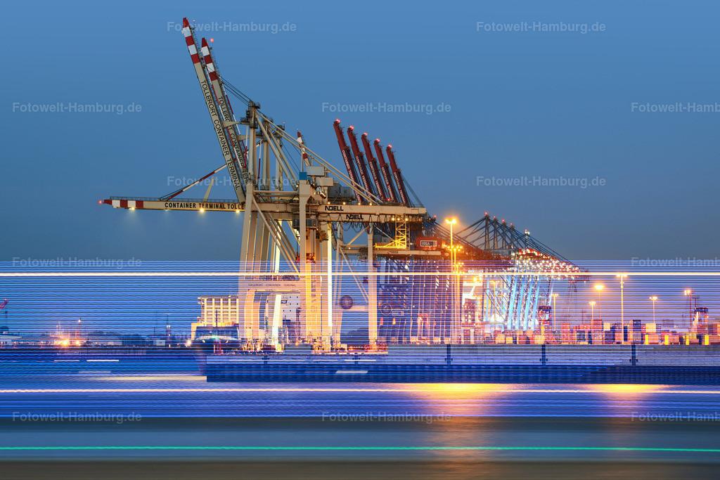 10190804 - Hafenlichter   Containerterminal Tollerort im Hamburger Hafen bei Nacht.