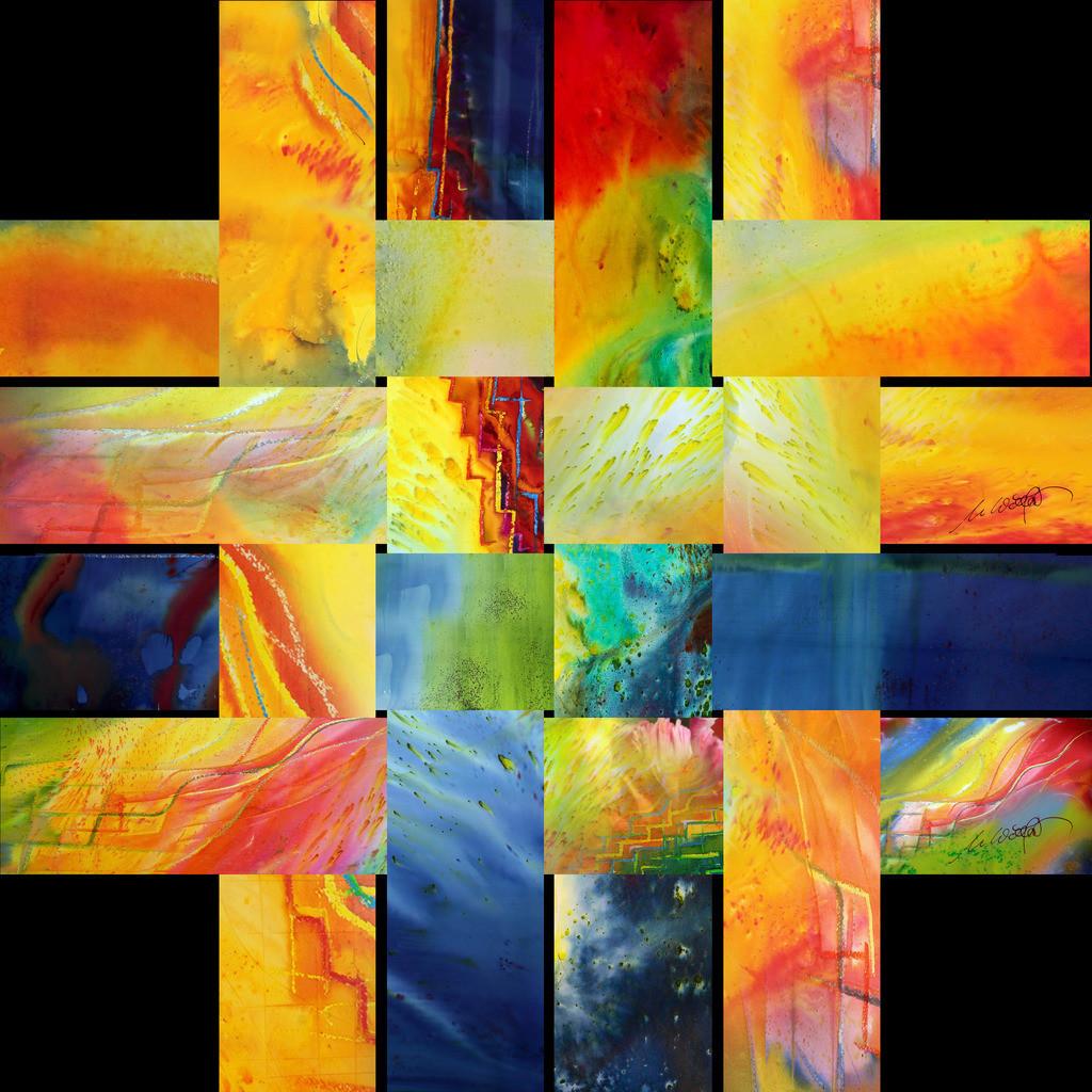 Farbenmuster des Lebens V06 | DAS LEBEN UND SEINE FARBEN:  Beobachtet man das Leben, ist es ein Geflecht aus Mensch und Zeit. Wie Großartiges in Niedrigem, durchschneidet Vertikales unseren Horizont. Nur die Zeit und die Andacht lassen das Muster erahnen. Erst nach der letzten Stunde hat man alle Farben gesehen. die das Leben und der Mensch gemalt haben.