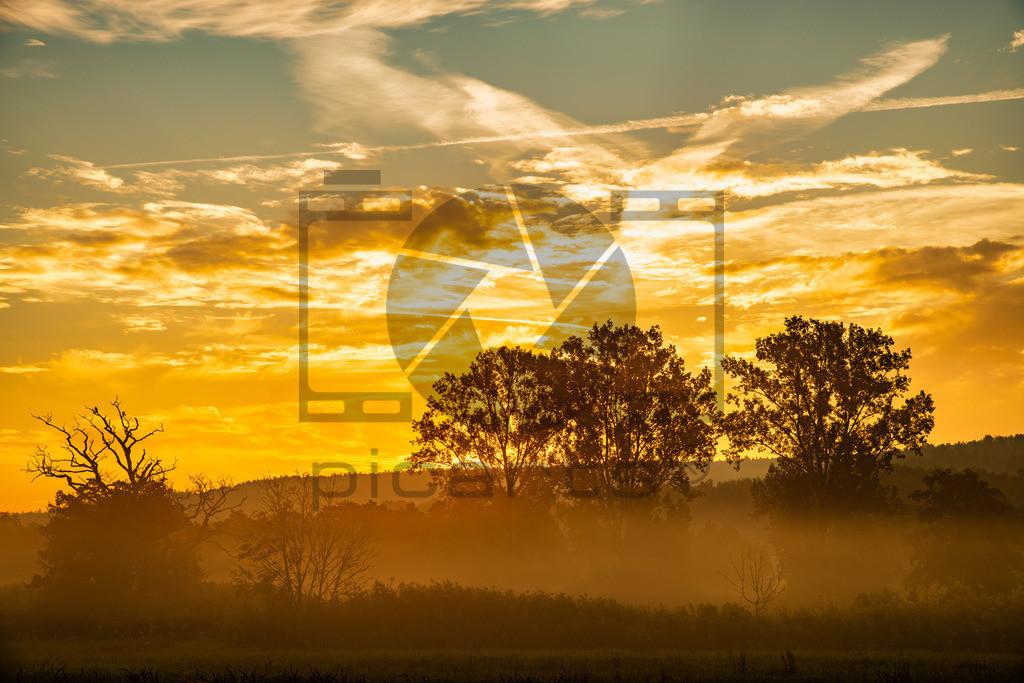 Sonnenaufgang Aue im Nebel Bad Soden-Salmünster | Sonnenaufgang und Nebel in der Aue zwischen Bad Soden und Salmünster am 16.09.2020