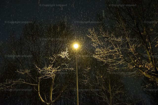Erster Schnee | Erster feuchter Schnee im Licht der Laterne.