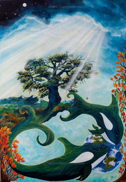 Twin life | Phantastischer Realismus aus dem Atelier Conny Krakowski. Verkäuflich als Poster, Leinwanddruck und vieles mehr.