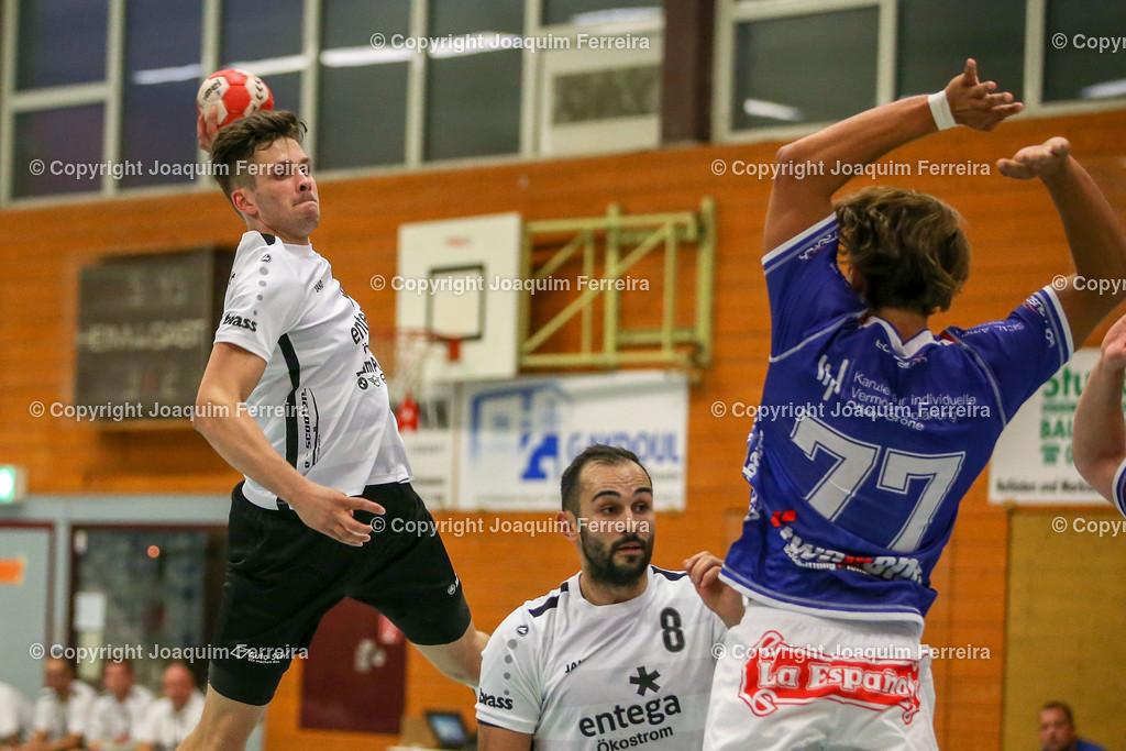 190913_msg_0239 | despor 2019.09.13 HHV Handball Männer Oberliga MSG Umstadt/Habitzheim gegen TuS Dotzheim emspor, emonline, despor,  v.l.,  Wurf von Tom Seifert (MSG Umstadt/Habitzheim),  David Asic (MSG Umstadt/Habitzheim), #77 Max Kaczmarek (TUS Dotzheim) Foto: Joaquim Ferreira