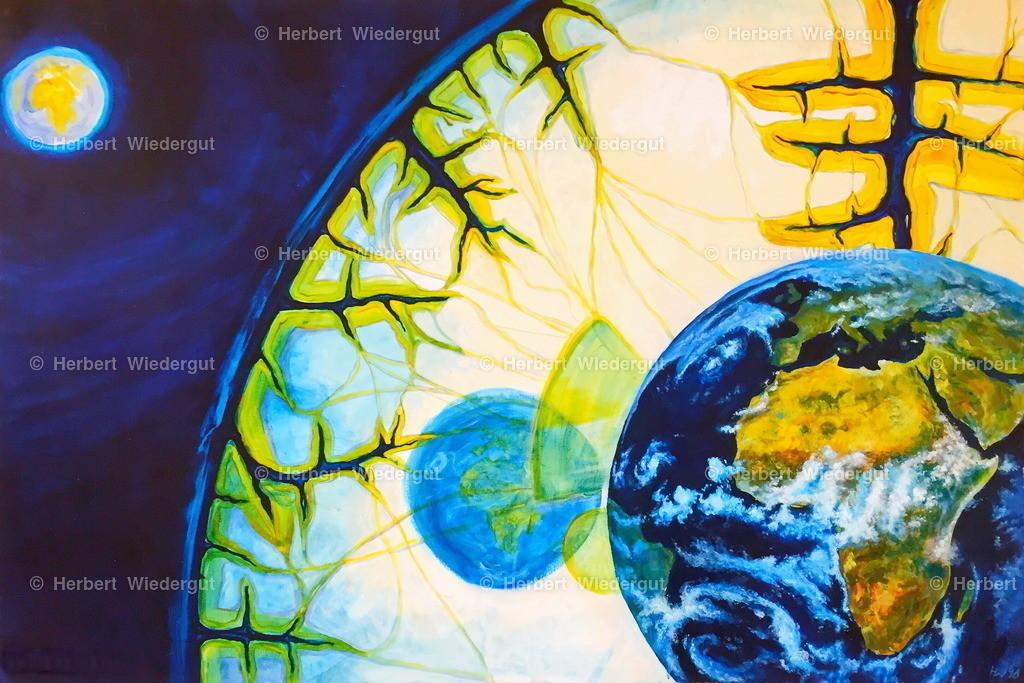 Erd-Bewusstsein   oil painting, Ölgemälde von herb-art, Dr. Herbert Wiedergut, Original: 100 x 80 cm, Öl auf Leinwand