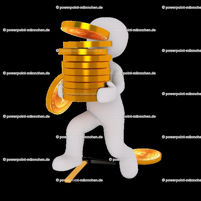 man carrying a pile of bitcoins | Quelle: https://3dman.eu   Jetzt 250 Bilder kostenlos sichern