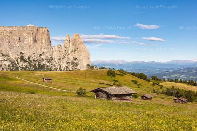 Schlern in Südtirol I | Blick über die saftigen Sommerwiesen der Seiser Alm in Richtung Schlern mit der vorgelagerten Santnerspitze. Der Schlern ist das Wahrzeichen von Südtirol.