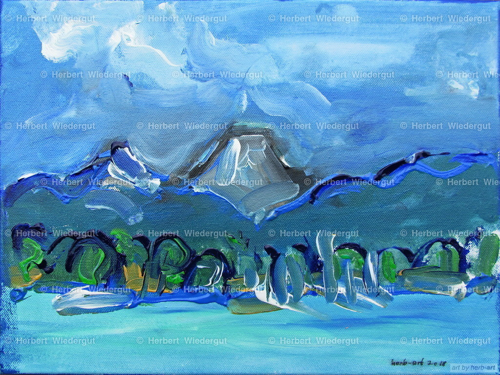 Mittagskogel mit Faakersee | Acrylbild von Dr. Herbert Wiedergut, herb-art, Mittagskogel mit Faaker See
